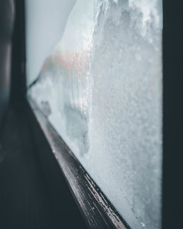 You know it`s cold, when you window freezes from the inside